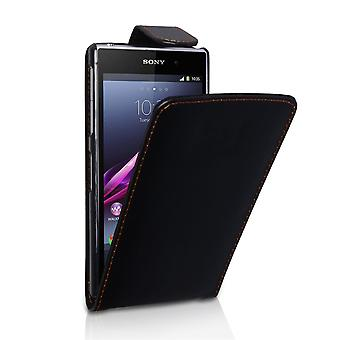YouSave Accessories Sony Xperia Z1 Leather Effect Flip Case Black