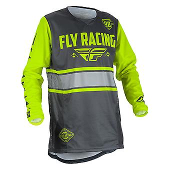 Fly Racing Grey-Hi-Viz 2018 Kinetic Era Kids MX Jersey