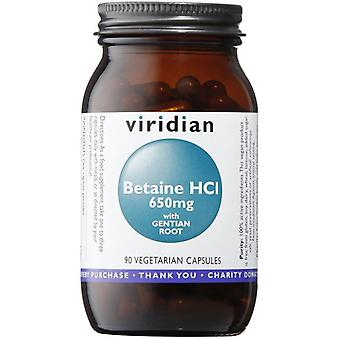Viridian Betain HCl 650mg mit Enzian Veg Caps 90 (471)