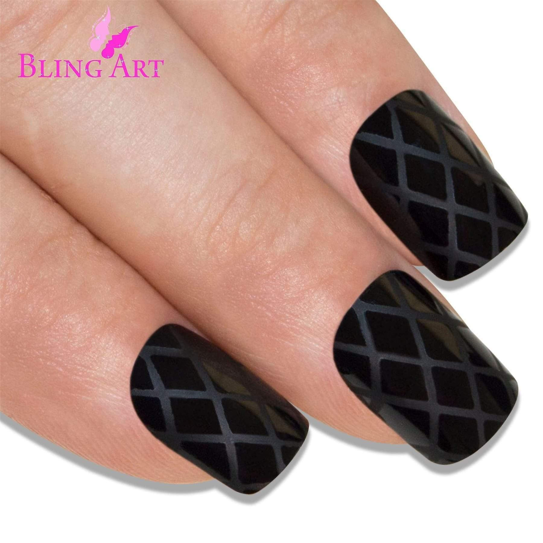 False nails by bling art matte black french manicure fake medium tips with glue