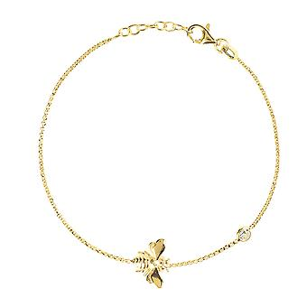 Queen Bee Honey Bumblebee Yellow Gold Bracelet sterling Silver Bridesmaids gift