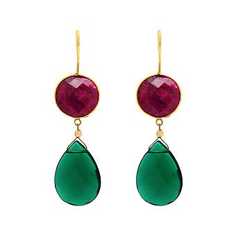 Gemshine earrings red rubies green tourmaline drop 925 silver or gold plated