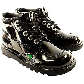 Unisex Kids Youth Kickers Kick Hi Black Patent Back To School Boots Shoes