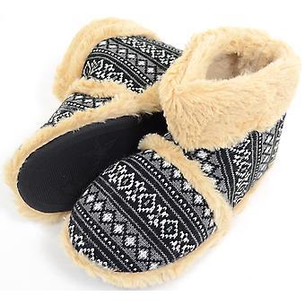 Heren gebreide stijl Slipper laarzen / laarsjes met warme Faux bont voering en manchet - Black - kleine (UK7 / UK8)