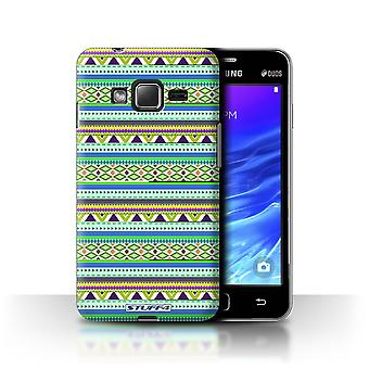 STUFF4 Case/Cover for Samsung Z1/Z130/Green/Purple/Aztec Tribal Pattern