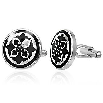 Urban Male Two Colour Silver & Black Stainless Steel Cufflinks