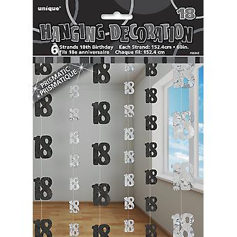 5ft Hanging Glitz Black Prism 18th Birthday Decorations, Pack of 6