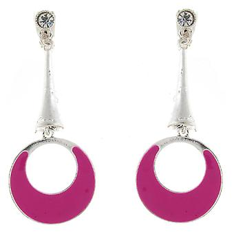 Clip On Earrings Store Hot Pink Enamel Round Drop Hoop Clip On Earrings