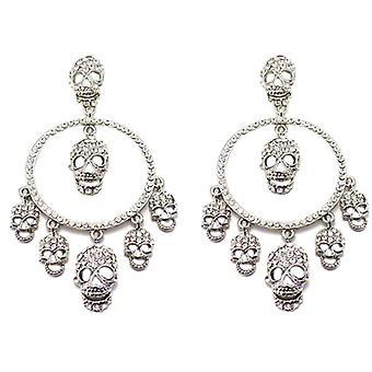 Butler and Wilson Multi Skull and Hoop Crystal Earrings