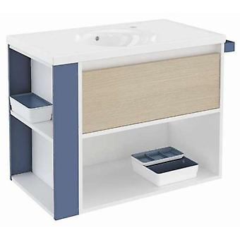 Bath+ 1 Drawer Cabinet + Shelf With Porcelain Basin Oak-White-Blue 80CM