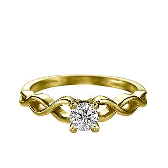 0.50 CT 5.00MM Moissanite Forever One Engagement Ring 14K Yellow Gold SRope Braided Round Cut