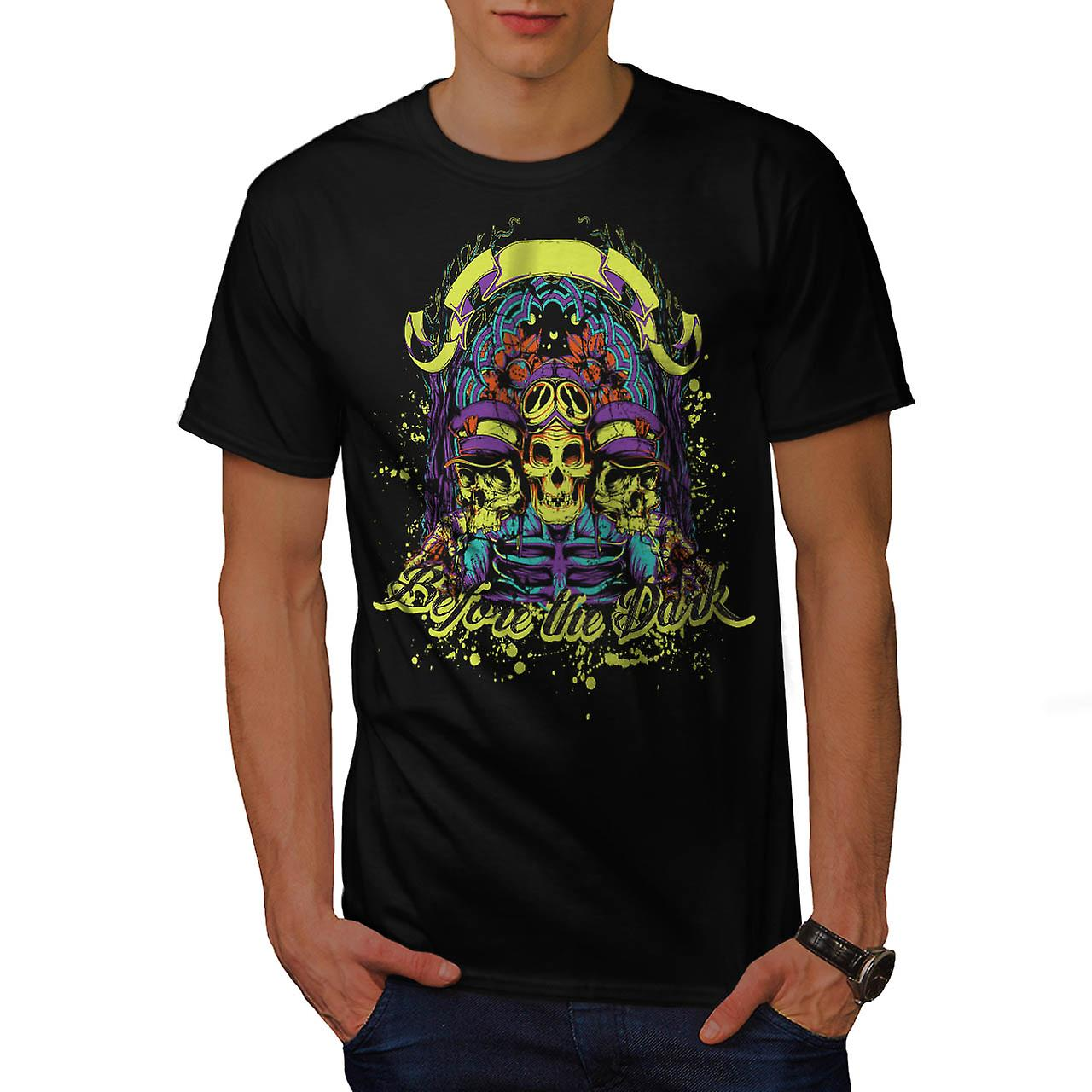 Prima t-shirt nero scuro Zombie teschio Ride uomini | Wellcoda