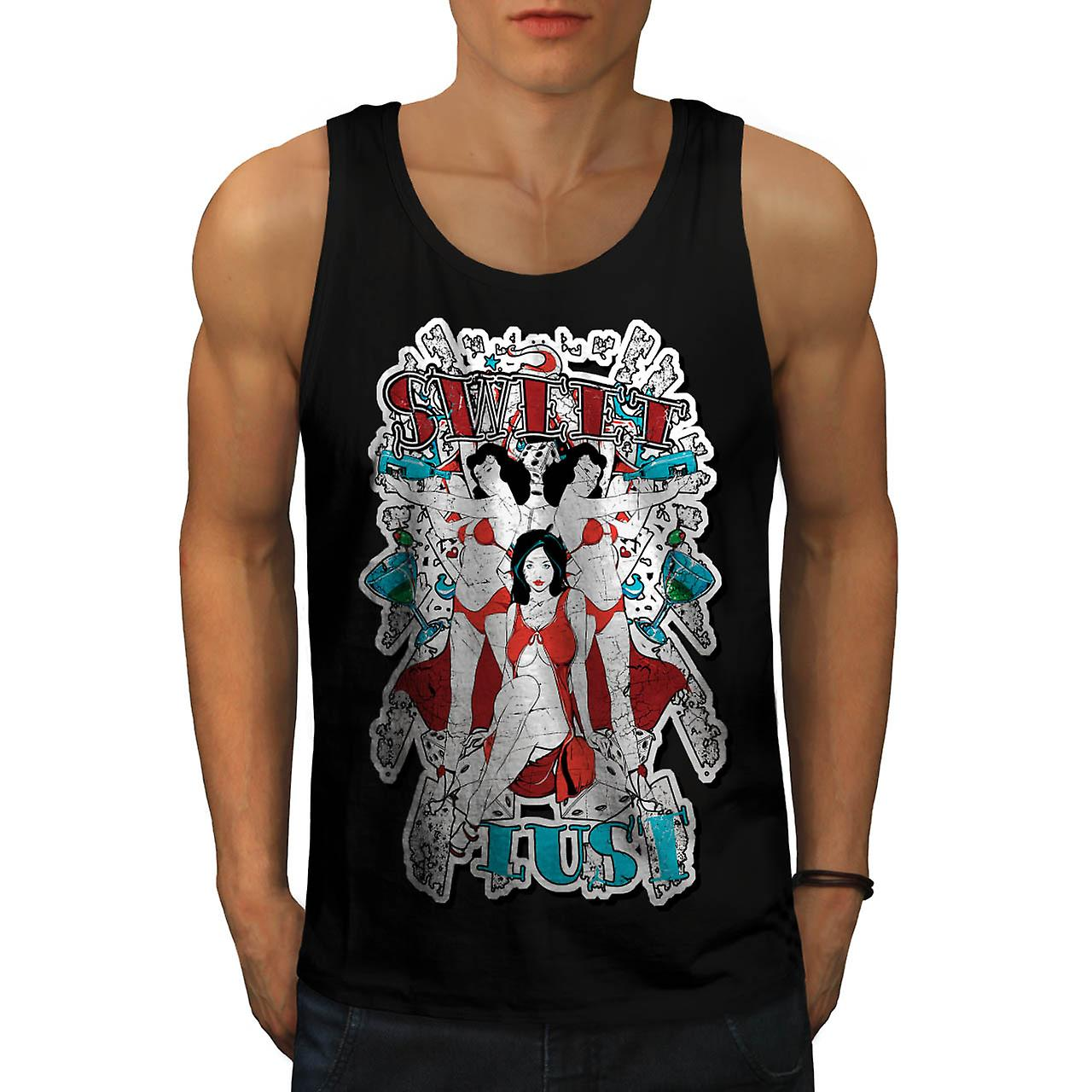 Sweet Lust Casino Bet Seduction Men Black Tank Top | Wellcoda