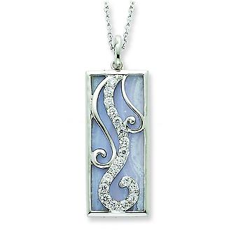 Sterling Silver Blue Lace Agate and CZ Necklace - 18 Inch