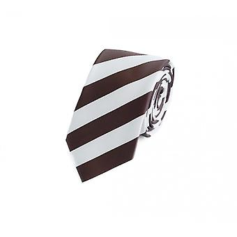 Tie narrow white Brown striped by Fabio Farini