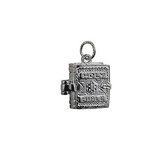 Silver 16x14mm moveable Bible with the Lord's Prayer inside Pendant or Charm