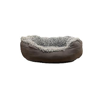40 Winks Oval Bed Grey Lion Faux Suede 55x28cm