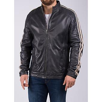 Evan Leather Biker Jacket in Navy