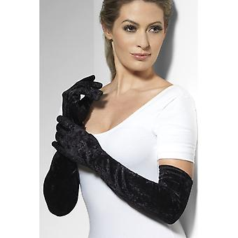 手套天鹅绒天鹅绒黑色长袖服装