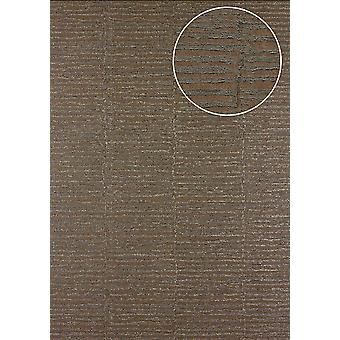 Atlas 24C-5054-3 non-woven wallpaper wallpaper stripes effect textured Brown grey beige bronze 7,035 m2 with graphic patterns and metallic