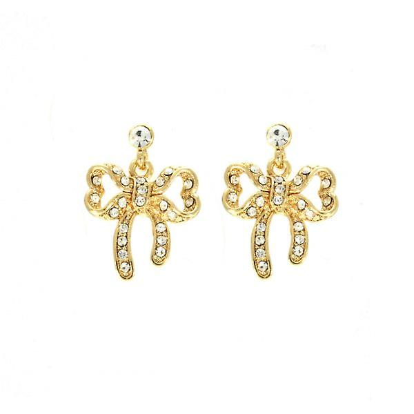 W.A.T Gold Style Sparkling Swarovski Crystal Bow Shaped Fashion  Earrings