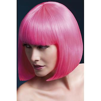 Pink cosplay wig with straight, bobbed hair