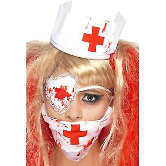 Smiffys Bloody Nurse Kit White With Mask Headpiece & Eyepatch Blood Effect (Costumes)