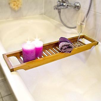Top Home Solutions Bamboo Slim Bathtub Caddy Bridge Bathroom Over The Tub Storage