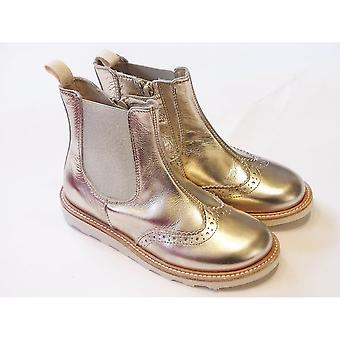 Young Soles Young Soles Francis Girls Boots | Gold Leather Chelsea Gold Chelsea Boots