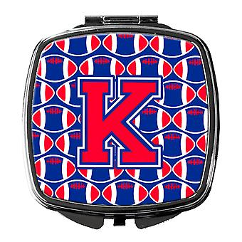 Letter K Football Harvard Crimson and Yale Blue Compact Mirror