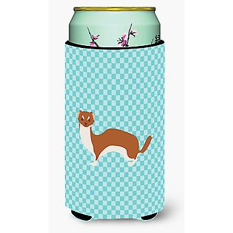Weasel Blue Check Tall Boy Beverage Insulator Hugger