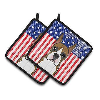 Carolines skarby BB2153PTHD amerykańską flagę i bokser para łapki