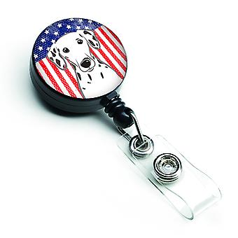 Carolines Treasures  BB2140BR American Flag and Dalmatian Retractable Badge Reel