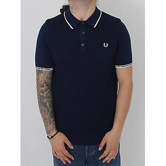 Fred Perry Tipped Knitted Polo - Rich Navy