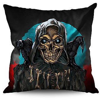 Rock Skull Death Skeleton Linen Cushion Rock Skull Death Skeleton | Wellcoda