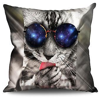 Space Sunglasses Cute Cat Linen Cushion Space Sunglasses Cute Cat | Wellcoda