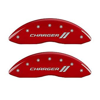 MGP Caliper Covers 12162SCH1RD Charger ll Engraved Caliper Cover with Red Powder Coat Finish and Silver Characters, (Set