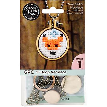 Mini Embroidery Hoop Necklace Punched For Cross Stitch-Circle W/ Ball Chain 60036