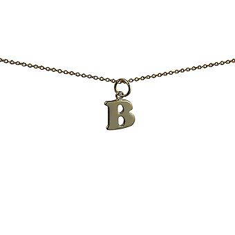 9ct Gold 10x10mm plain Initial B Pendant with a cable Chain 16 inches Only Suitable for Children