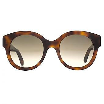 Gucci Star Temple Rounded Sunglasses In Havana