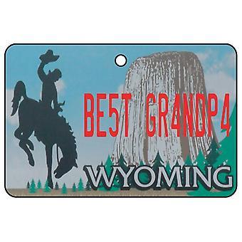 Wyoming - Best Grandpa License Plate Car Air Freshener