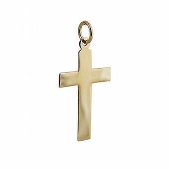 18ct goud 24x14mm gewoon platte Latijns kruis