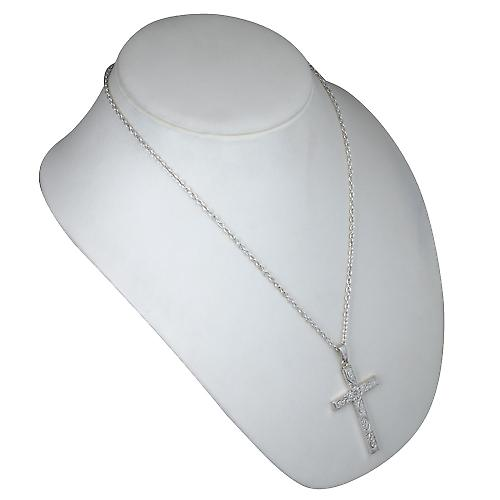 Silver 55x33mm victorian hand engraved solid block Cross with bail on a cable Chain 22 inches
