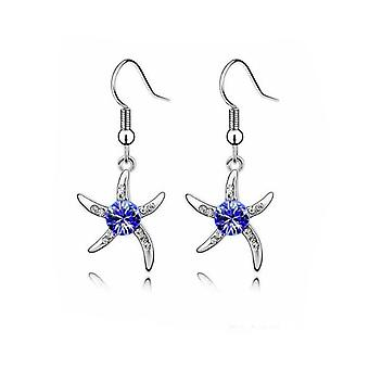 Womens Silver Starfish Earrings Dark Blue