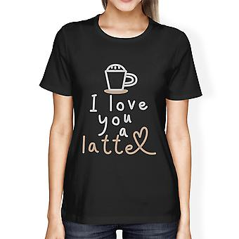 Love A Latte Womens Black Graphic Tee Funny Saying Tee For Her