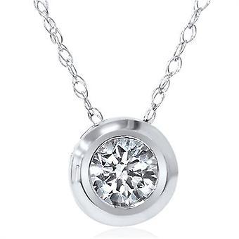 1/6 ct ソリティア実質ベゼル 14 K ダイヤモンド ペンダント ネックレス