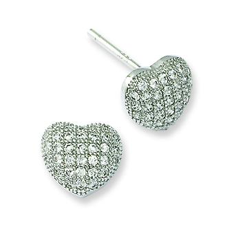 Sterling Silver Rhodium-plated and Cubic Zirconia Brilliant Embers Heart Post Earrings