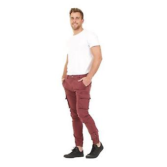 Men's Cargo Trousers - Maroon Cargo pockets Elasticated and Zipped at ankle