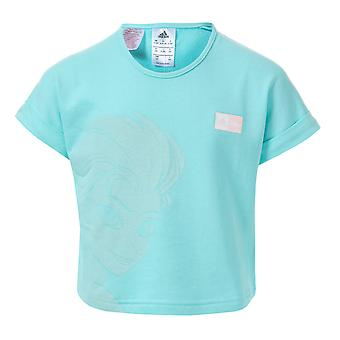 Infant Girls adidas Frozen Elsa T-Shirt In Mint- Ribbed Collar- Crew Neck- Drop