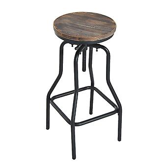HOMCOM Vintage Industrial Bar Stool Height Adjustable Swivel Chair w/ Metal Foot and Wood Surface (TypeB)
